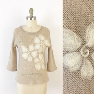 Anthropologie Tan Felted Wool Floral Sweater Cute